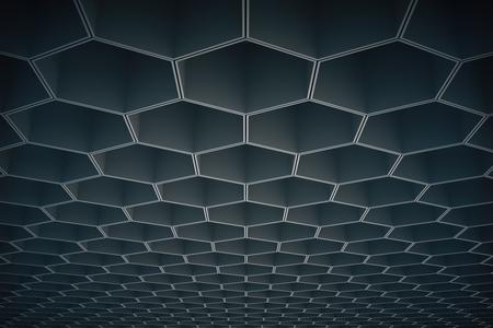 voluminous: Abstract dark honeycombhexagon pattern on ceiling. Background or wallpaper. 3D Rendering