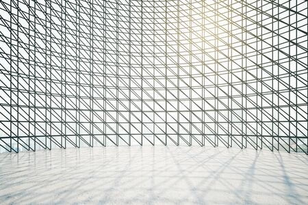 interior window: Abstract bright interior with dark window grids, sunlight and city view. 3D Rendering Stock Photo