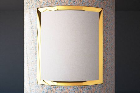 frontview: Closeup of empty golden frame on colorful column. Mock up, 3D Rendering