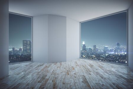night view: Modern empty interior with night city view, empty concrete wall and wooden floor. 3D Rendering