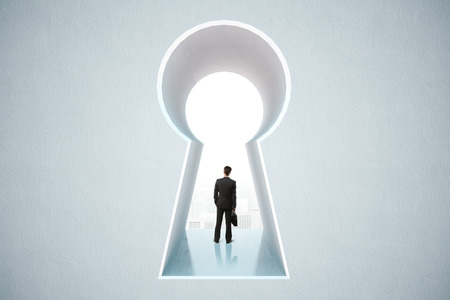 business briefcase: Businessman standing in keyhole opening with city view in concrete wall. 3D Rendering Stock Photo