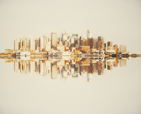 down town: Reflected abstract copper cityscape on light background Stock Photo