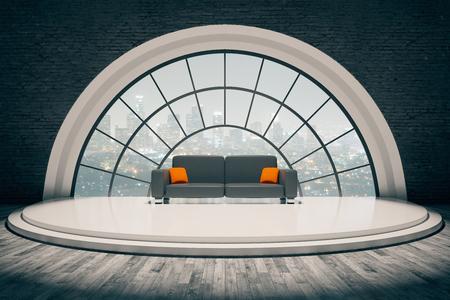 Baksteen interieur met sofa op trede podium en rond raam met uitzicht op de stad. 3D Rendering