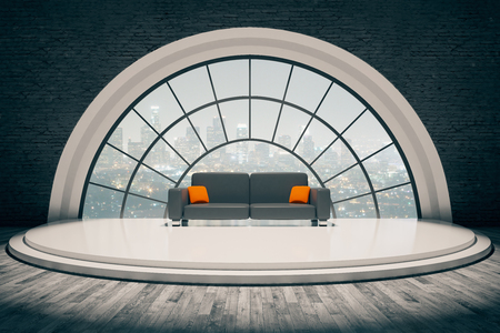 view window: Black brick interior with sofa on stair podium and round window with city view. 3D Rendering