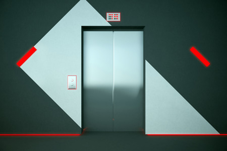 interior lighting: Front view of elevator in interior with pattern on wall and red lighting. 3D Rendering