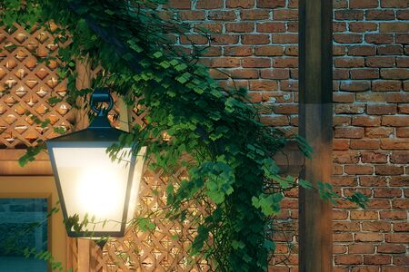 stone wall: Closeup of lantern on brick wall with ivy leaves. 3D Rendering Stock Photo
