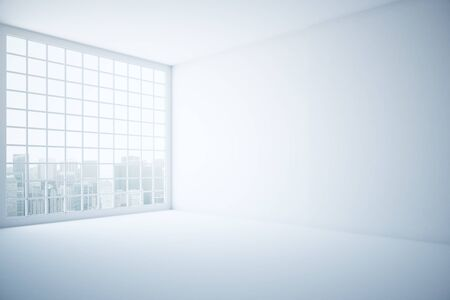 window view: Side view of bright interior with concrete walls, floor, ceiling and window with city view. 3D Rendering