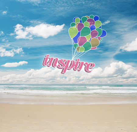 cielo y mar: Colorful air balloons with text on sea and sky background. Inspiration concept Foto de archivo