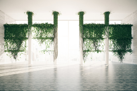 green plants: Beautiful bright room interior with plants growing all over columns and city view with sunlight. 3D Rendering