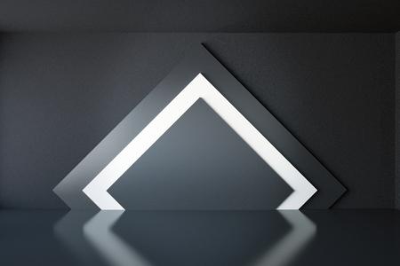 Interieur met elegante ruitvormige zwart-wit patroon op de muur. Mock-up, 3D-rendering Stockfoto