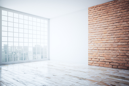 window view: Side view of bright interior with red brick wall, wooden floor and window with city view. 3D Rendering