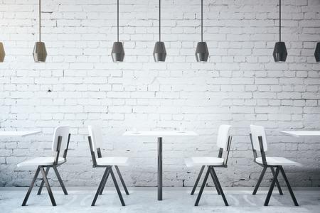 커피 테이블 및의 자 화이트 벽돌 카페 인테리어 천장 램프. 3D 렌더링 스톡 콘텐츠