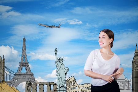 Travel concept with charming young lady with sketch on sky background
