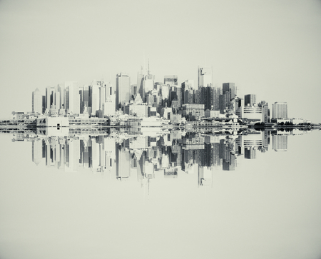 Reflected abstract grey cityscape on light background Stock Photo