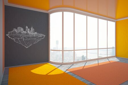 interior window: Empty colorful interior with construction sketch on wall and window with city view. 3D Rendering