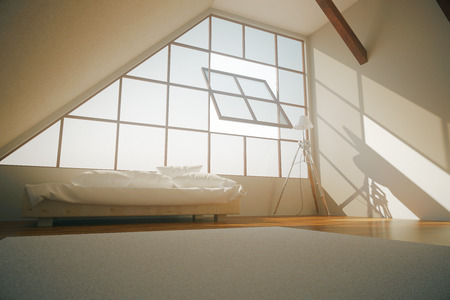 loft interior: Side view of loft bedroom interior with bed, open window, concrete walls, carpet on wooden floor and lamp. 3D Rendering Stock Photo