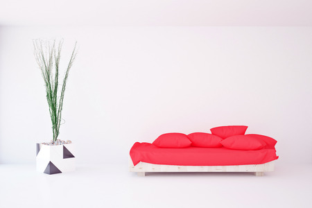view of an elegant red couch: Front view of bright interior with pillows on red couch and decorative plant. 3D Rendering