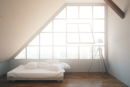 framed: Bright bedroom interior with bed, framed window with city view, concrete walls, wooden floor and lamp. 3D Rendering