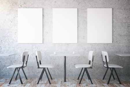 cadeira: mesas e cadeiras no interior do café com três cartazes em branco na parede de concreto texturizado. Mock up, 3D Rendering Banco de Imagens