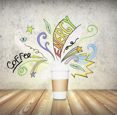 booster: Take away coffee cup with illustrations and text on wooden desktop and concrete background