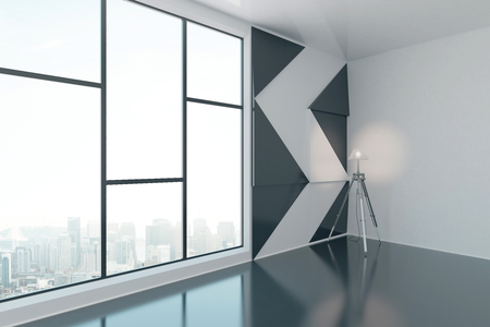 window view: Interior design with patterned black-and-white wall, floor lamp and window with city view. Side view, 3D Rendering Stock Photo
