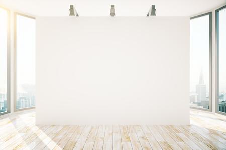 lampada: Il design degli interni con pavimento in legno, vista sulla città, la luce del sole e bandiera vuota con lampade. Mock up, rendering 3d Archivio Fotografico
