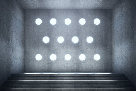 stairs interior: Abstract concrete interior with stairs and round holes in textured wall. 3D Rendering