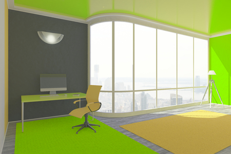 interior window: Bright green interior design with workplace, floor lamp and window with city view. 3D Rendering