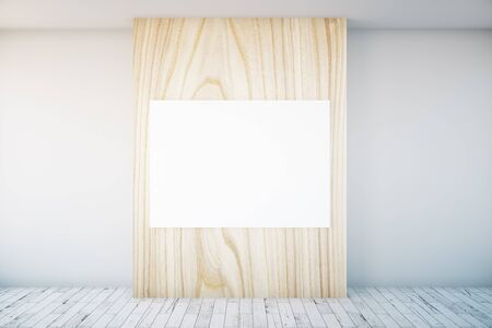 wooden panel: Concrete interior with blank poster on light wooden panel. Mock up, 3D Rendering