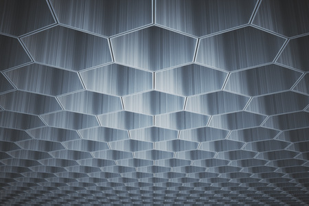 voluminous: Abstract gray honeycombhexagon pattern on ceiling. Background or wallpaper. 3D Rendering