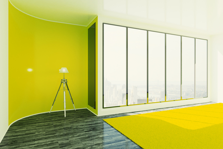 interior window: Bright yellow interior design with floor lamp, window with city view and daylight. 3D Rendering