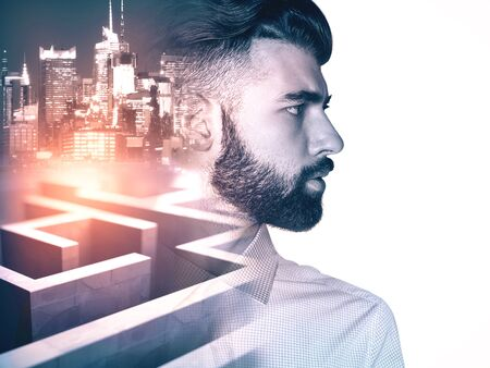 business obstacle: Side view of young businessman on side turned city and maze background with abstract sunlight. Business obstacle concept. Double exposure