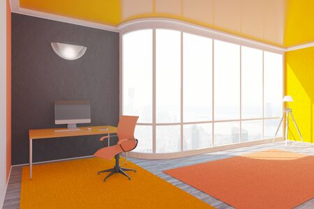 painted wood: Bright orange interior design with workplace, floor lamp and window with city view. 3D Rendering