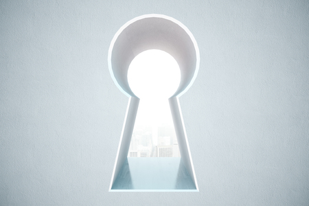 Keyhole opening with city view in concrete wall. 3D Rendering