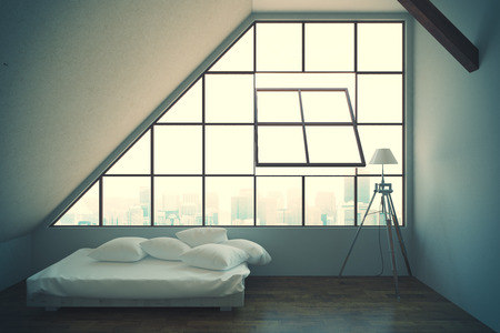 loft: Loft bedroom interior with bed, framed window with city view, concrete walls, wooden floor and lamp. 3D Rendering