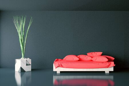 view of an elegant red couch: Front view of dark concrete interior with pillows on red couch and decorative plant. 3D Rendering
