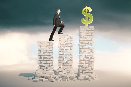 stormy sky: Financial growth and risk concept with young businessman in suit climbing abstract white brick ladder with golden dollar sign on top. Stormy sky background. 3D Rendering