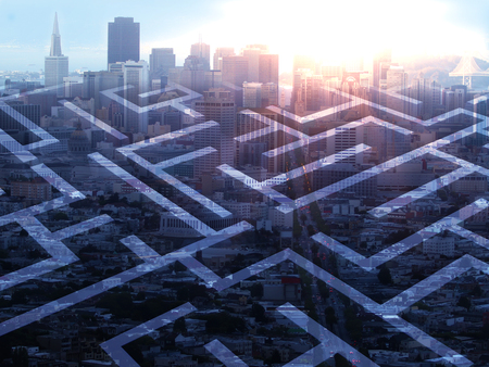 complicated journey: Abstract maze on city background with sunlight. Double exposure