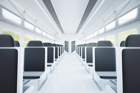 compartment: Empty passenger train interior with black seats. 3D Rendering
