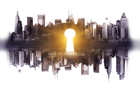 Abstract reflected city with shiny keyhole on light background. Accessibility concept Stock Photo