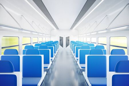aisle: Empty passenger train interior with blue chairs. 3D Rendering