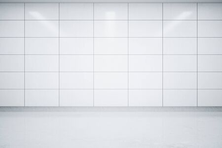 tiles: Empty interior with light tile wall and concrete floor. Mock up, 3D Rendering