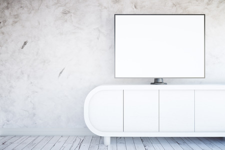 white wall: Front view of light tv stand with blank white TV screen in interior with textured concrete wall and wooden floor. Mock up, 3D Rendering Stock Photo