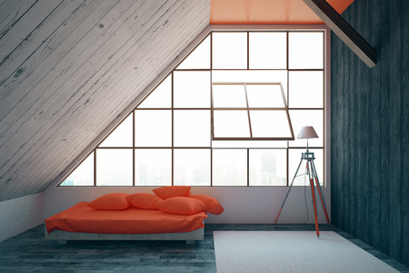 carpet floor: Modern bedroom interior with red bed, framed window with city view, wooden walls, carpet on floor and lamp. 3D Rendering Stock Photo