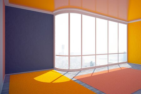 daylight: Empty colorful interior design with city view and daylight. 3D Rendering