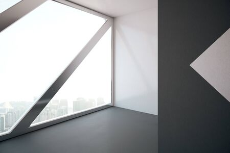 window view: Side view of modern concrete interior with abstract window and city view. 3D Rendering