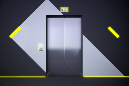 interior lighting: Front view of lift in interior with pattern on wall and yellow lighting. 3D Rendering
