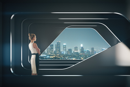 Thoughtful businesswoman in abstract dark futuristic interior with night city view. Research concept