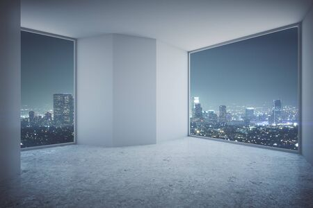 office ceiling: Modern empty interior with blank concrete wall, floor and night city view. 3D Rendering Stock Photo