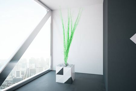 interior window: Light concrete interior with decorative plant and window with city view. 3D Rendering